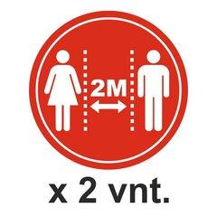 Laikytis saugaus 2 m atstumo. Grindų lipdukai 2 vnt. kaina ir informacija | Informaciniai ženklai | pigu.lt