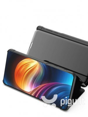 Telefono dėklas Hallo Clear View Book Case, skirtas Samsung A405 Galaxy A40, juodas internetu