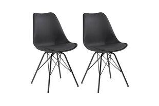Modernus kėdžių komplektas Ursel Black, juoda kaina ir informacija | Virtuvės ir valgomojo kėdės | pigu.lt