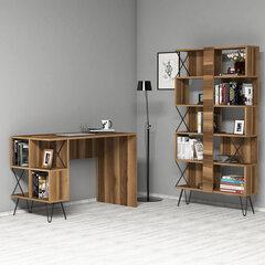 Rašomasis stalas su knygų lentyna Kalune Design 845 (IV), juodas/rudas kaina ir informacija | Kompiuteriniai, rašomieji stalai | pigu.lt