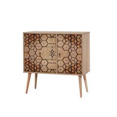 Komoda Kalune Design Dresser 3447, ąžuolo spalvos/geltona kaina ir informacija | Komodos | pigu.lt