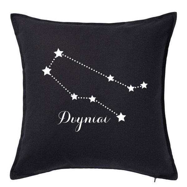 """Originali pagalvėlė su zodiako ženklu """"Dvyniai"""", juoda."""