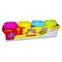 Lipdymo masė Kids Dough Neon su figūriniais dangteliais, 4 spalvos kaina ir informacija | Lavinamieji žaislai | pigu.lt