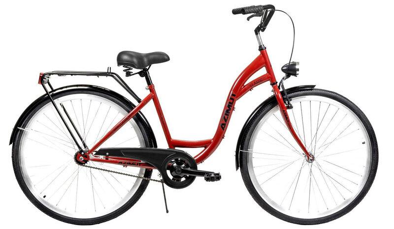 """Prekė su pažeista pakuote. Miesto dviratis AZIMUT Classic 28"""" 2021, raudonas"""