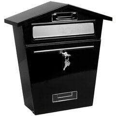 Klasikinio stiliaus metalinė pašto dėžutė su raktu 37x33x10 cm, juoda kaina ir informacija | Pašto dėžutės, namo numeriai | pigu.lt