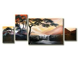 Keturių dalių tapytas paveikslas Medis prie krioklio
