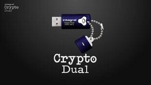 Atmintinė Integral Crypto 32GB, Aparatinis šifravimas AES 256 bit, FIPS 197