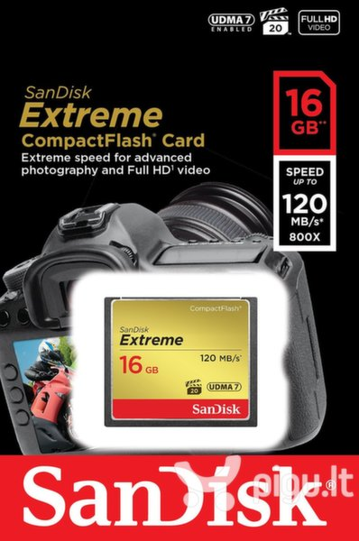 Atminties kortelė SanDisk Compact Flash Extreme card 120MB/s 16GB