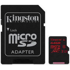 Atminties kortelė Kingston microSDHC (4K2K) 64 GB, 10 klasės + SD adapteris