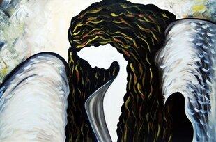 Tapytas paveikslas Angelas, storu porėmiu
