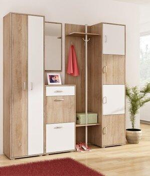 Prieškambario komplektas V, baltos/ąžuolo spalvos kaina ir informacija | Prieškambario baldai | pigu.lt