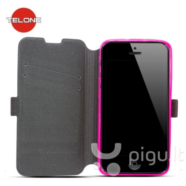 Atverčiamas dėklas Telone Super Slim Shine Book Case skirtas Samsung Galaxy A3 (A300), Rožinė kaina ir informacija | Telefono dėklai | pigu.lt