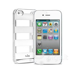Apsauginis dėklas Puro IPC4STRIPESIL, skirtas iPhone 4/4S
