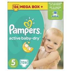 Sauskelnės PAMPERS ActiveBaby, 5 dyd., 126 vnt.