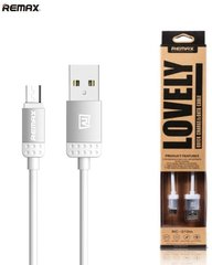 Remax Lovely MicroUSB - USB 1m, Sidabrinis