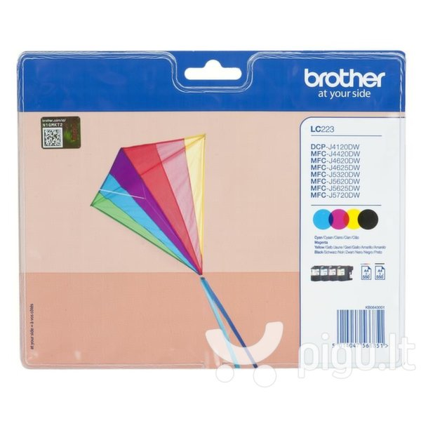 BROTHER LC-223 ink cartridge black and tri-colour standard capacity 1-pack blister without alarm kaina