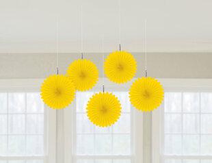Kabančios dekoracijos-vėduoklės, geltonos 5 vnt.