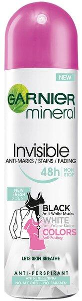 Purškiamas dezodorantas Garnier Mineral Invisible Black White Colors Fresh 150 ml