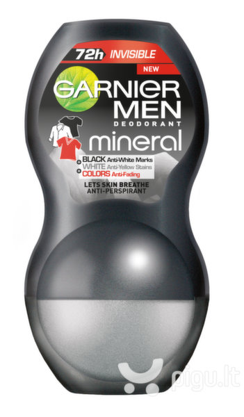 Rutulinis dezodorantas Garnier Men Mineral Invisible Black White Colors 50 ml