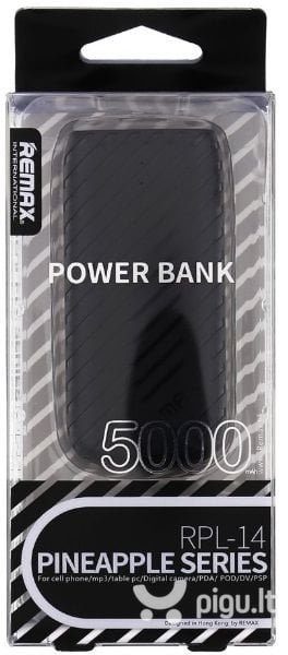 Remax Pineapple 5000mAh Power Bank + LED, Juodas kaina