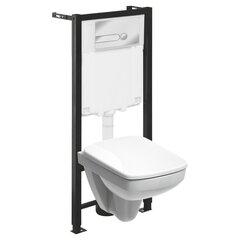 WC komplektas Kolo Mini Pro: WC potinkinis rėmas + unitazas + kabinamas bakelis + mygtukas