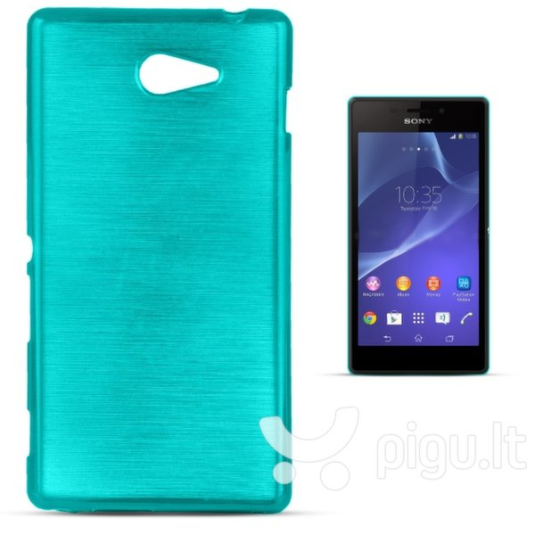 Apsauginis dėklas Forcell Jelly Brush Pearl skirtas Sony D2303 Xperia M2 / M2 Aqua, Mėlynas